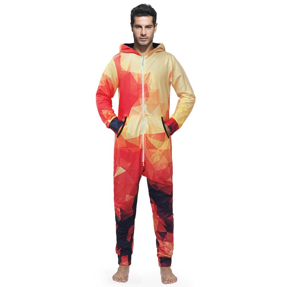 2019 Warm Men's Fashion Pajamas Pullover Hooded Jumpsuits Comfortable Housewear Lounger Sleepwear