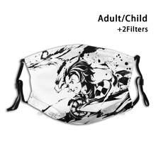 Tanjiro – masque buccal réutilisable Dragon d'eau, avec filtres, pour enfants, Giyu Tomioka, Pilier De lion, Épée De démon, Anime Kimetsu No
