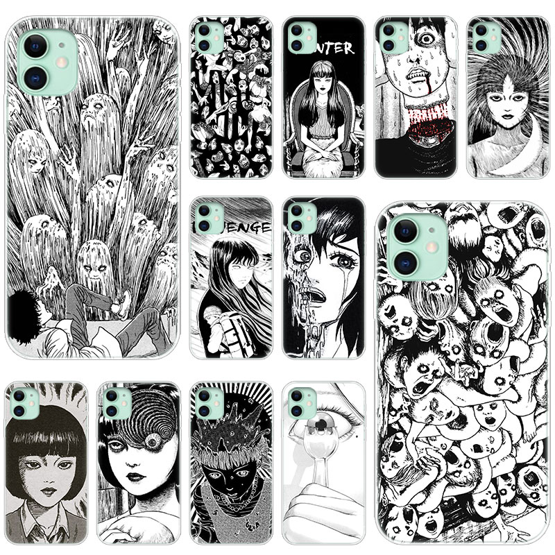 Hot Junji Ito Tees Horror Soft Silicone Transparent Case for Apple iPhone 11 Pro XS Max X XR 6 6s 7 8 Plus 5 5s SE Fashion Cover(China)