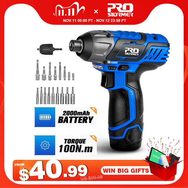 100NM Electric Screwdriver 12V Cordless Drill/Driver Screw Lithium Battery Rechargeable Hexagon Power Tools by PROSTORMER