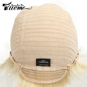 Image 5 - Trueme Brazilian Remy Short Bob Human Hair Wigs For Black Women Blonde Wigs 613 Ombre Short Straight Human Hair Full Wigs