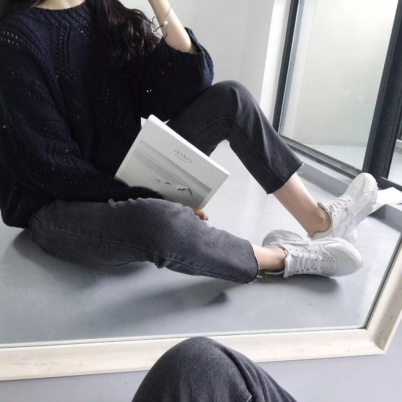Black And White with Pattern Straight-leg Pants <font><b>Children</b></font> Wide-Leg Summer <font><b>BF</b></font> Jeans Loose-Fit Women's Korean-style Versatile Stude image