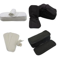Asenappy 10 pçs reutilizáveis inserções lavável boosters para pano de bolso fralda microfibra bambu carvão inserção