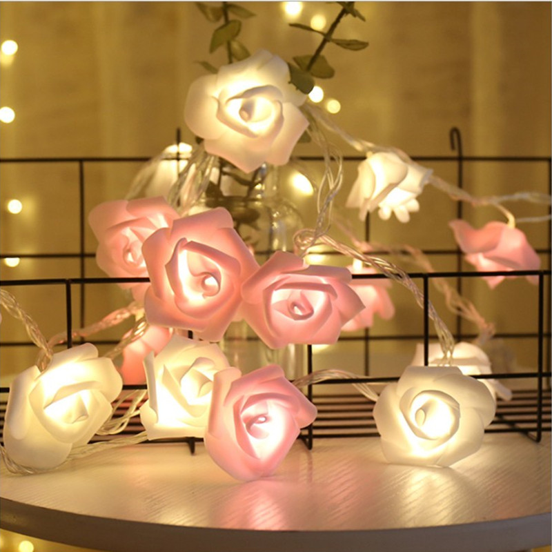 Hot Rose Flower USB Or Battery Powered String LED Light Strip Lamp Lawn Romantic Wedding  Lighting Christmas New Year Decoration