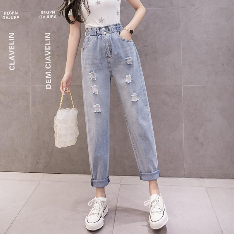 Woman Jeans High Waist Ripped Jeans 2020 Spring Summer For Clothes Wide Leg Denim Clothing Blue Streetwear Fashion Vintage Pants