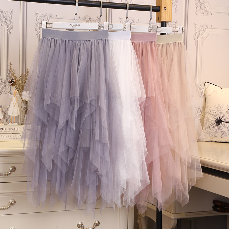 Tulle Skirts Womens Faldas Mujer Moda 19 Fashion Elastic High Waist Mesh Tutu Maxi Pleated Long Midi Saias Jupe Women's Skirt 21