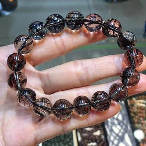 11 мм Сертификат натуральный черный рутилированный кварцевый кристалл браслет Женщины Мужчины прозрачные круглые бусины богатые камни из Б...