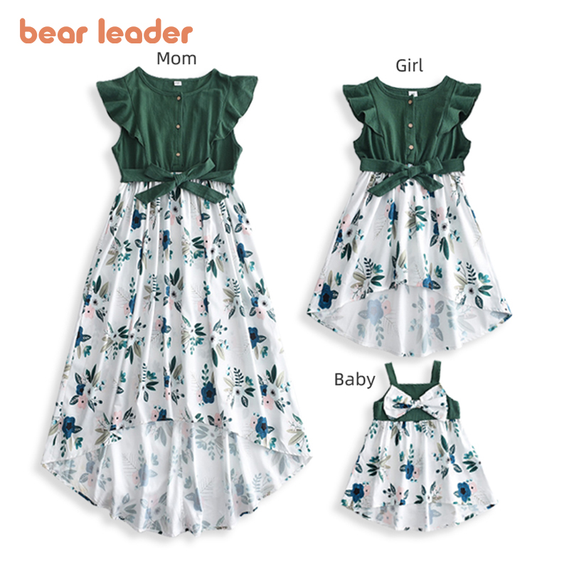 Bear Leader Family Matching Outfits New Fashion Girls Patchwork Dress Kids Flowers Costumes Mother Elegant Sleeveless Outfits