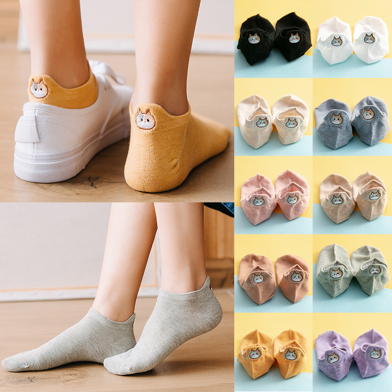 2020 New Spring Kawaii Women Socks Fashion Ankle Girls Cotton Color Novelty Women Fashion Cute Heart Casual Funny Sock Wholesale