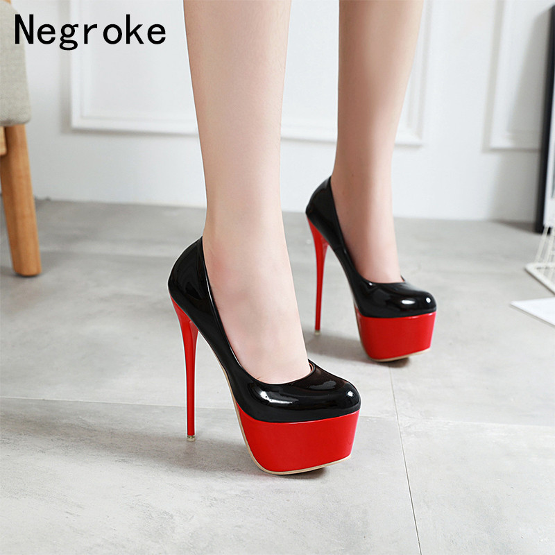 2019 <font><b>Sexy</b></font> <font><b>17CM</b></font> Extreme <font><b>High</b></font> <font><b>Heels</b></font> Women Pumps Ladies Platform Stiletto Woman Shoes Slip On Pumps Women Zapatos De Mujer image