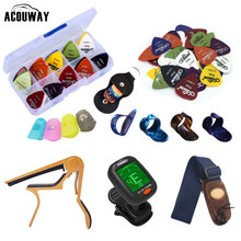 Guitar Accessories Kit Set Guitar Capo / Guitar Picks /Guitar Strap/ Tuner / Fingertip Protector Parts Accessories