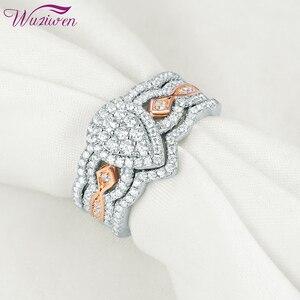 Женский набор обручальных колец Wuziwen, набор из 3 предметов из стерлингового серебра 925 пробы, розовое золото 14 к, в форме груши, с белым циркон...