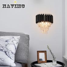 Современная спальня светодиодный настенный светильник прикроватный AC90-260V хрустальный декоративный светильник