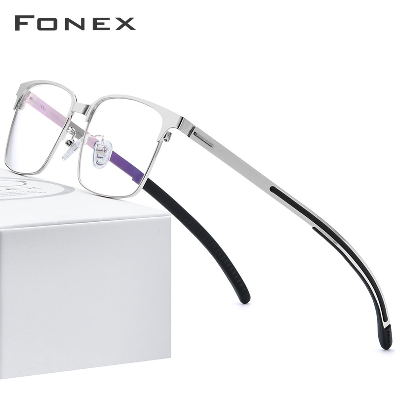 FONEX Silicone Alloy Optical Glasses Frame Men Square Myopia Prescription Eyeglasses 2019 New Metal Screwless Eyewear 989 image