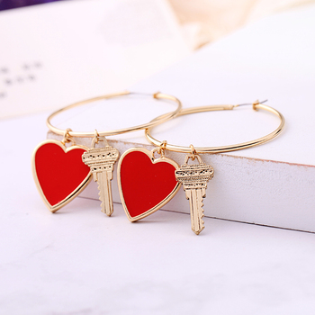 Handmade Gold Color Red Enamel Heart Key Hoop Earring For Women Wholesale Jewerly Accessory.jpg 350x350 - Handmade Gold Color Red Enamel Heart Key Hoop Earring For Women Wholesale Jewerly Accessory