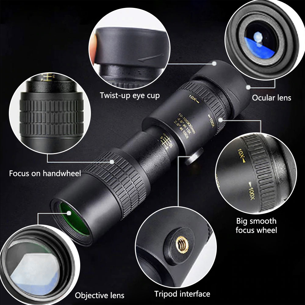 4K 10-300X40 мм Super Telephoto Zoom Monocular Telescope Portable High Zoom Professional for Camping Hunting Night Vision