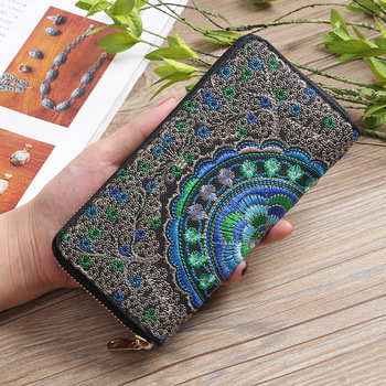 Ethnic Embroidery Flower Zipper Clutch Wallet Handbag Women Long Purse Bank Card Coin Pocket Credit Card Holder Cover Bag XB221 noenname handmade fashion flower embroidery design purse high capacity women card coin wallet national style ladys bag