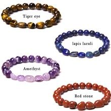 Natural Stone Beads Bracelet Simple Irregular Amethysts lapis lazuli Tiger Eye Beads Lucky Bracelet for Women Men Yoga Jewelry