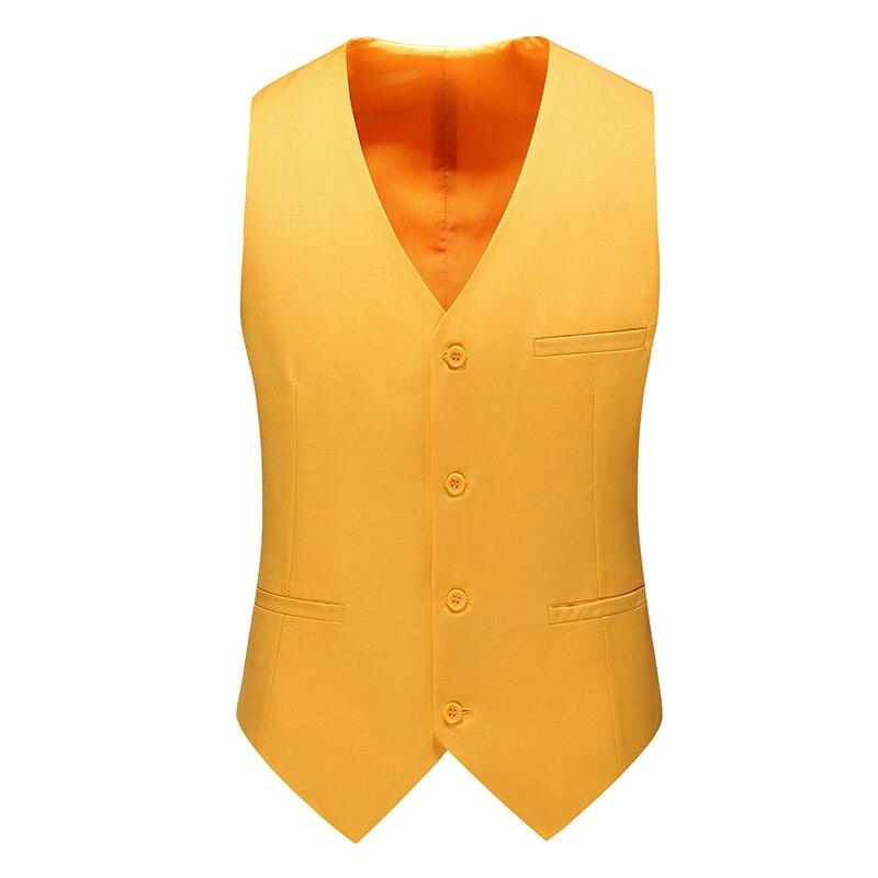 Thorndike Men's V Collar Vest Colete Masculino Men Dress Suit Vest Men Formal Yellow Black Vest Suit Gilet Vest Single Breasted