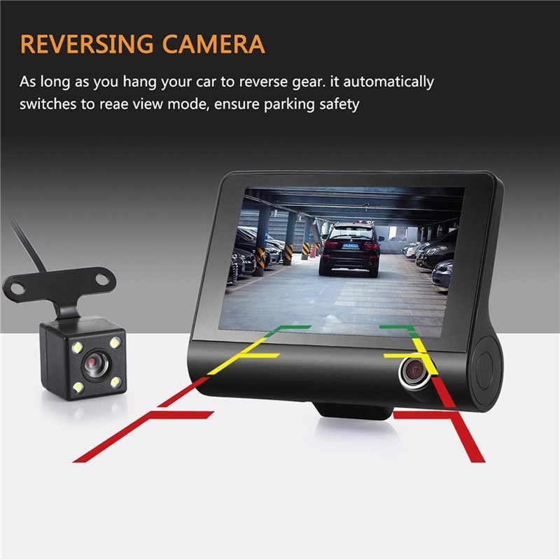 LAMJAD 車 DVR 3 カメラレンズ 4.0 インチダッシュカメラデュアルレンズバックミラーカメラとビデオレコーダー自動 Registrator Dvr ダッシュカム