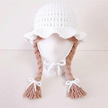 1-5 Yrs Girls Hat Kids Hand Knitted Caps With Braids Children Autumn Winter Fashion Wigs Hat Plaits Wig Bonnet Photo Accessories - White, 48-52 cm