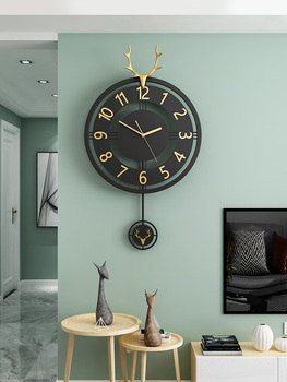 Nordic Modern Wall Clock Black Metal Living Room Luxury Clocks Wall Home Decor Deer Head Horloge Murale Home Decoration FZ712