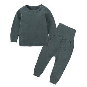 Image 2 - Intimo termico per bambini a vita alta Set neonato primavera autunno abiti bambini cotone vita alta abbigliamento per la casa neonato ragazza indumenti da notte