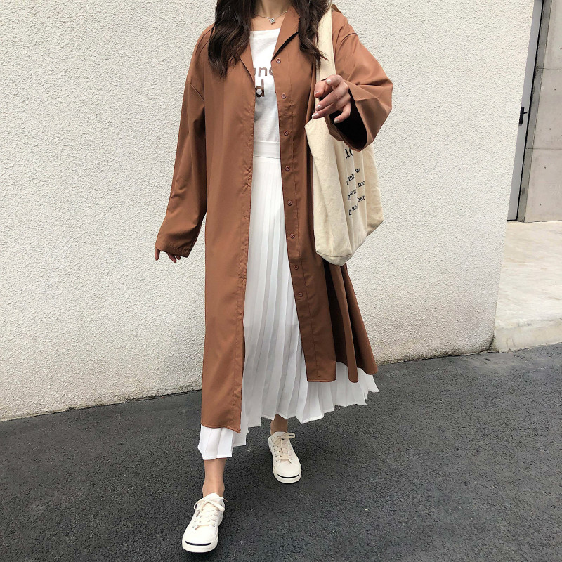 2019 Fashion Women's   Trench   Female Clothing Casual Long Coat Windbreaker Cloak New Slim Vintage High Quality Belt Autumn Student