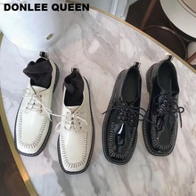 купить New Flats Shoes Women British Style Oxford Shoes Patent Leather Women's Loafers Lace Up Sneakers Platform Chaussure Female Mujer по цене 1555.33 рублей