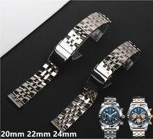 20mm 22mm 24mm sólido aço inoxidável relógio pulseira para breitling pulseira pulseiras de relógio para avenger navitimer superocean
