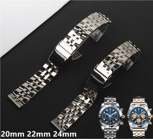 20mm 22mm 24mm Solid Stainless Steel Watch Bracelet For Breitling strap Watch Bands for AVENGER NAVITIMER SUPEROCEAN watchband