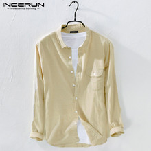 Camisas Business-Shirts Long-Sleeve Streetwear INCERUN Mens Cotton Fashion Lapel Casual
