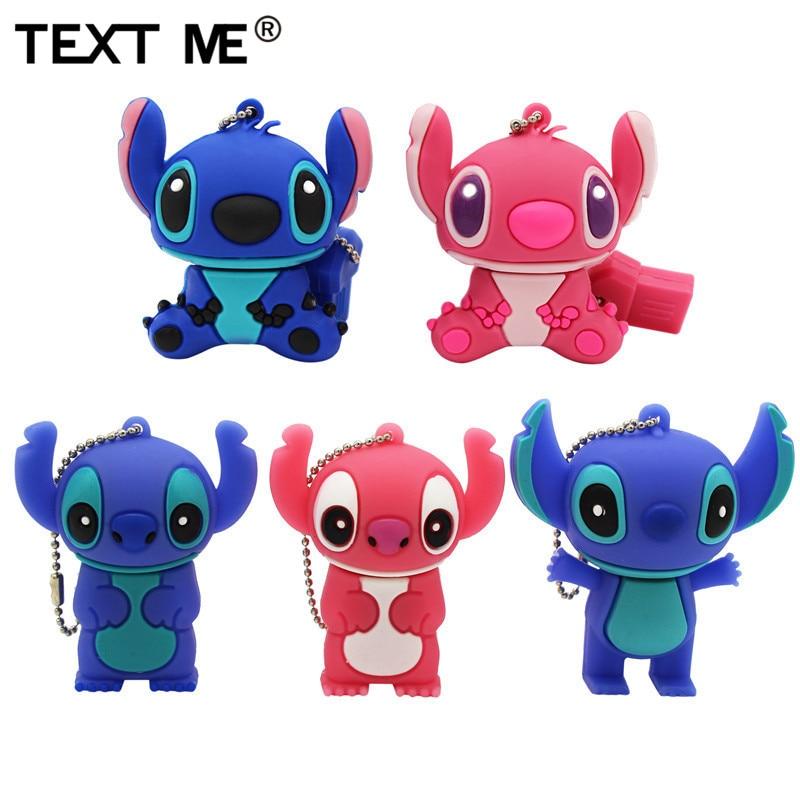 TEXT ME  Cartoon 5 Model Stitch Usb Flash Drive Usb 2.0 4GB 8GB 16GB 32GB 64GB Pendrive Cute Mini Stitch