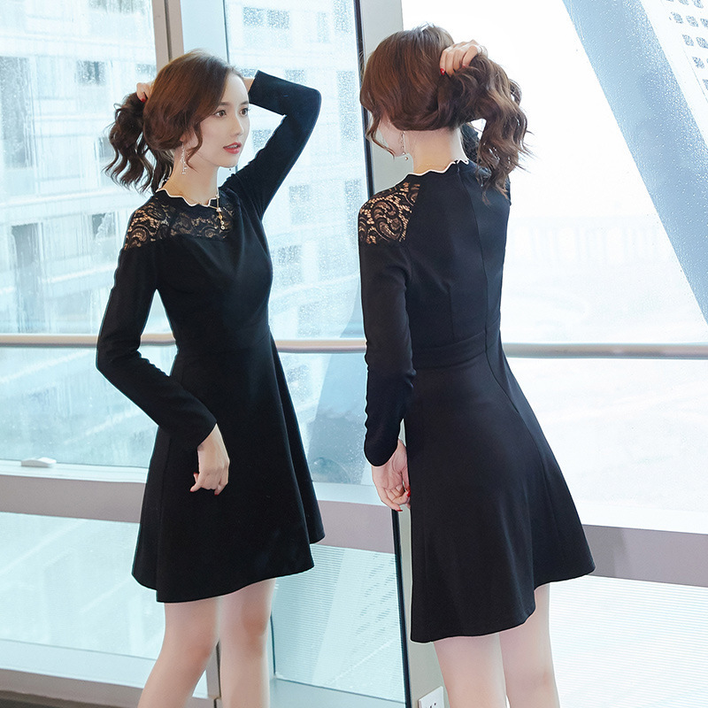 2019 Spring And Summer New Style Korean-style Women's Wear Slim Fit Large Size Crew Neck Joint Long Sleeve Lace Dress