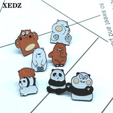 XEDZ cute animal enamel pin grizzly bear and ice bear panda funny playful naughty bear baby schoolbag jewelry lapel brooch gift(China)