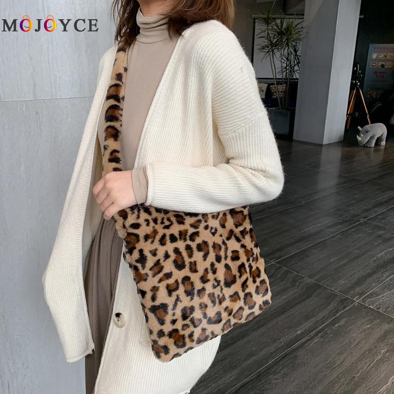 Fashion Leopard Print Crossbody Bag Women Plush Soft Casual Shoulder Messenger Bag Fluffy Female Handbag ,fashion Leopard