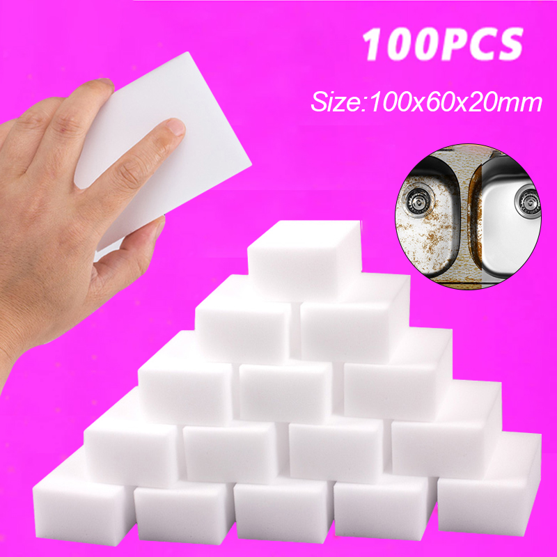 100PCS Magic Sponge 10x6x2cm Melamine Sponge Cleaning Eraser for Dish Wash Household Cleaning Tools Kitchen Bath Cleaning Sponge