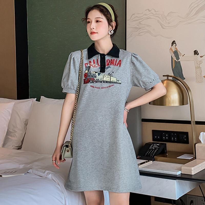Женское свободное платье-футболка средней длины, повседневное приталенное платье большого размера с пышными рукавами, Новинка лета 2021
