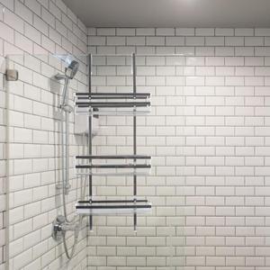 Нержавеющая сталь 3 слоя полки для ванной Пробивной Бесплатный подвесной держатель гелей для душа аксессуары для ванной комнаты 80x30 см HWC