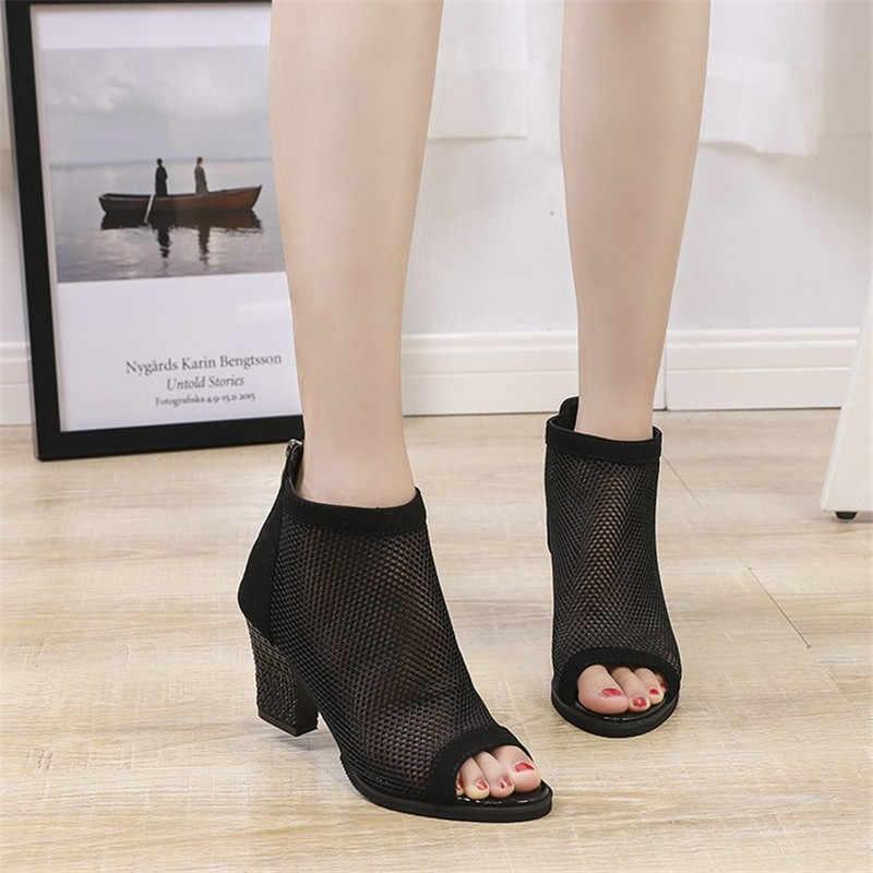 Botas de mujer de malla de gamuza tobillo botas de encaje 2019 botas de verano Zapatos Chaussures mujer cremallera cuadrado de tacón alto leopardo Zapatos de mujer