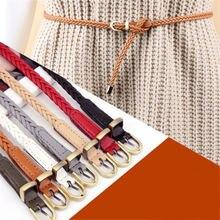 Модный женский тонкий поясной ремень плетеный кожаный узкий