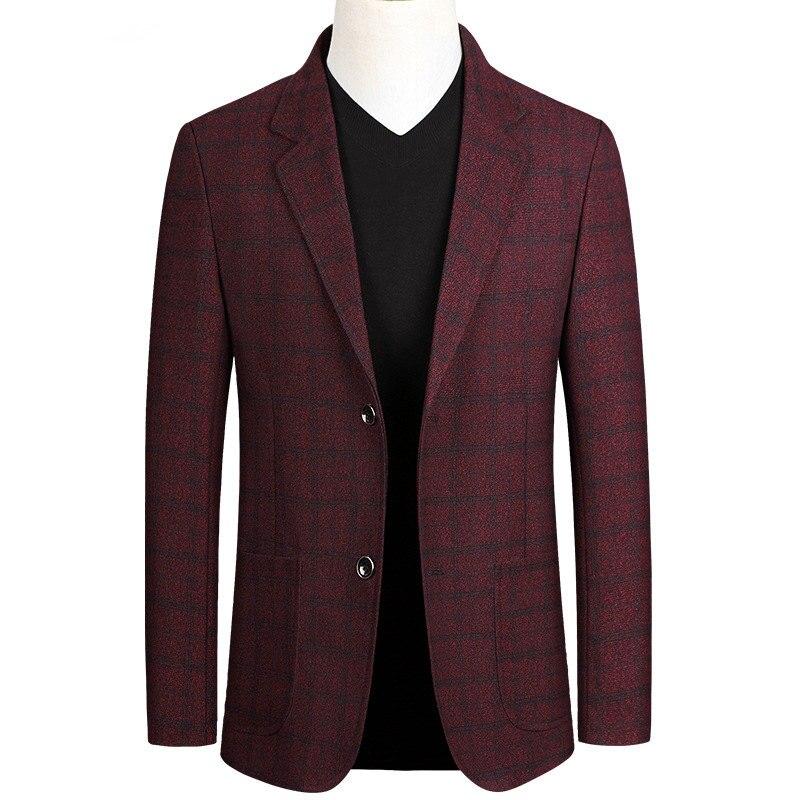 Spring Autumn Men's Business Casual Blazer Men Single Breasted Slim Fit Suit Jacket Man Korean Elegant Plaid Blaser Masculino