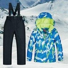MUTUSNOW/детский лыжный костюм; Водонепроницаемая теплая зимняя куртка и брюки; утолщенный Зимний Лыжный комбинезон для мальчиков; лыжный сноуборд; уличная одежда