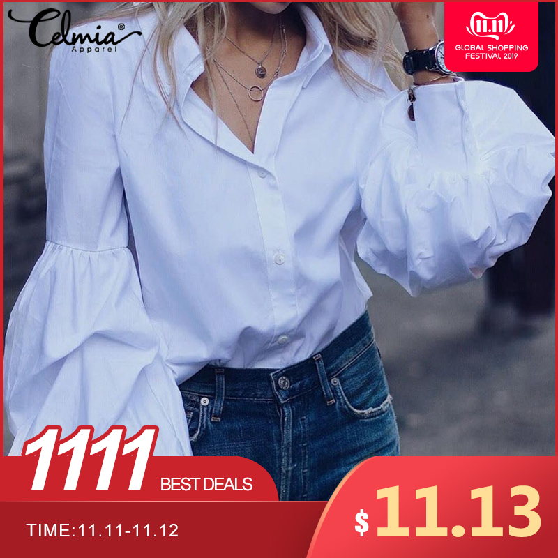 Celmia Women White Blouses 2019 Autumn Long Puff Sleeve Buttons Work Shirts Casual Ladies Plus Size Tops Loose Blusas Femininas