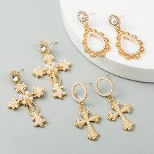Baroque Luxury Pearl Earrings 2020 New Fashion Gold Color Shiny Rhinestone Long Geometric Pendant Drop Jewelry Brincos