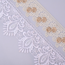 12.9 meter 7 cm Beige Flower Lace Trim Ribbon for Garment Home Textiles DIY Crafts Trimmings Sewing Lace Fabric 10.5 cm White 12 9 meter 3 0 cm lace trim ribbon for garment home textiles diy crafts trimmings sewing lace fabric polyester 3 5 cm 3 moldes