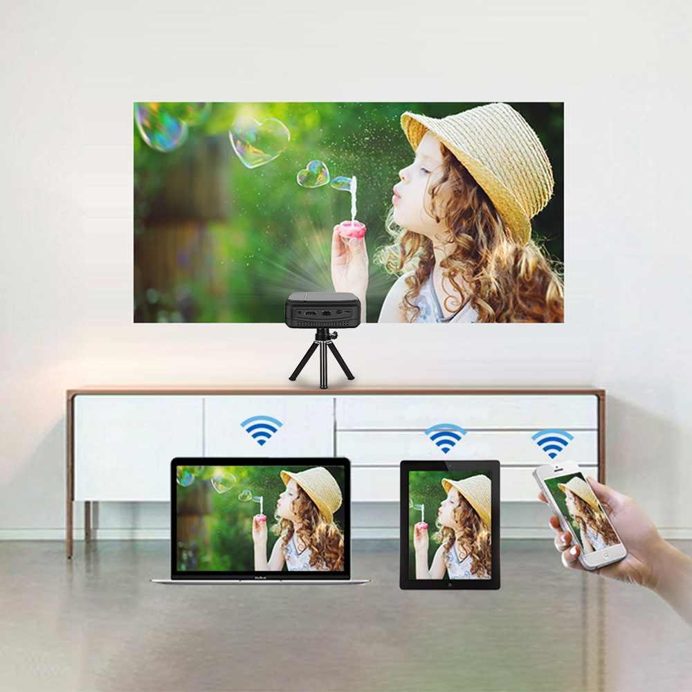 Caiwei H6W ミニスマートフォンプロジェクター dlp 1080 1080p ポータブル wifi ビーマー 3D シネマキャストワイヤレスマルチメディアプロジェクター