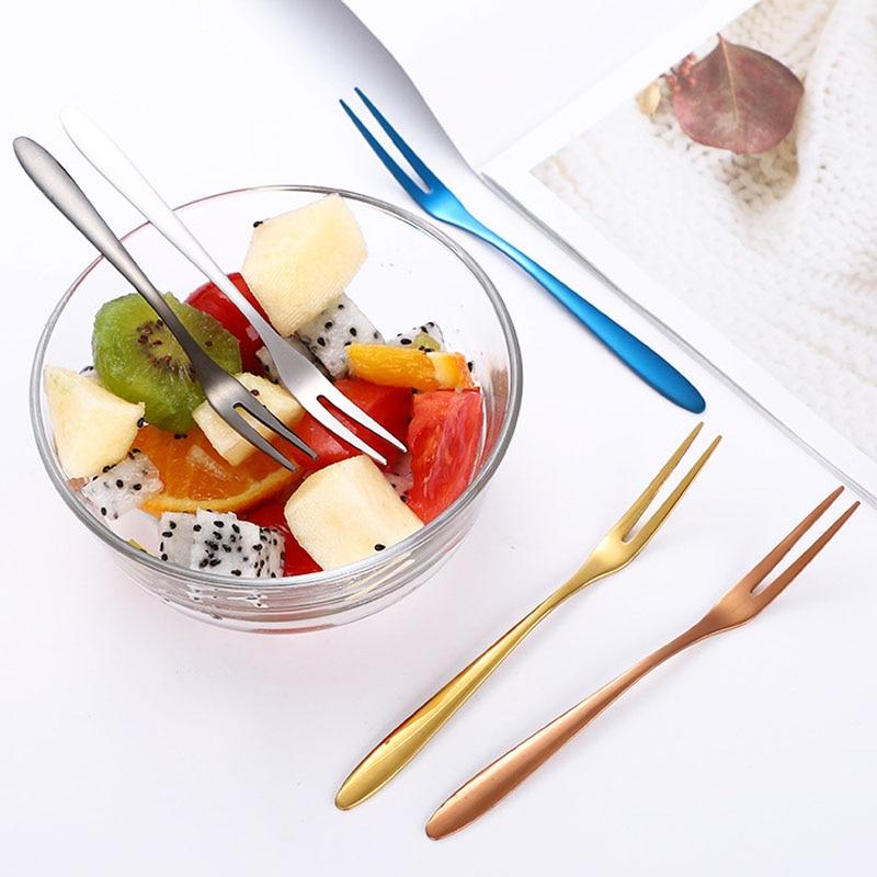 5pcs/Set Stainless Steel Fork Flatware Salad Fruit Fork Snack Cake Dessert Forks Birthday Party Kitchen Dinnerware Sets 5Colors