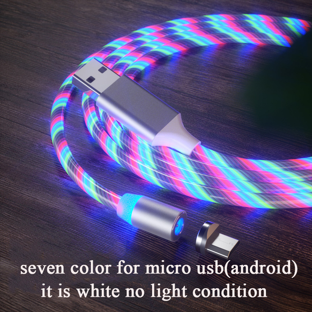 3 in 1 Magnetic charging Mobile Phone Cable Flow Luminous Lighting cord charger Wire for Samaung LED Micro USB Type C for iphone