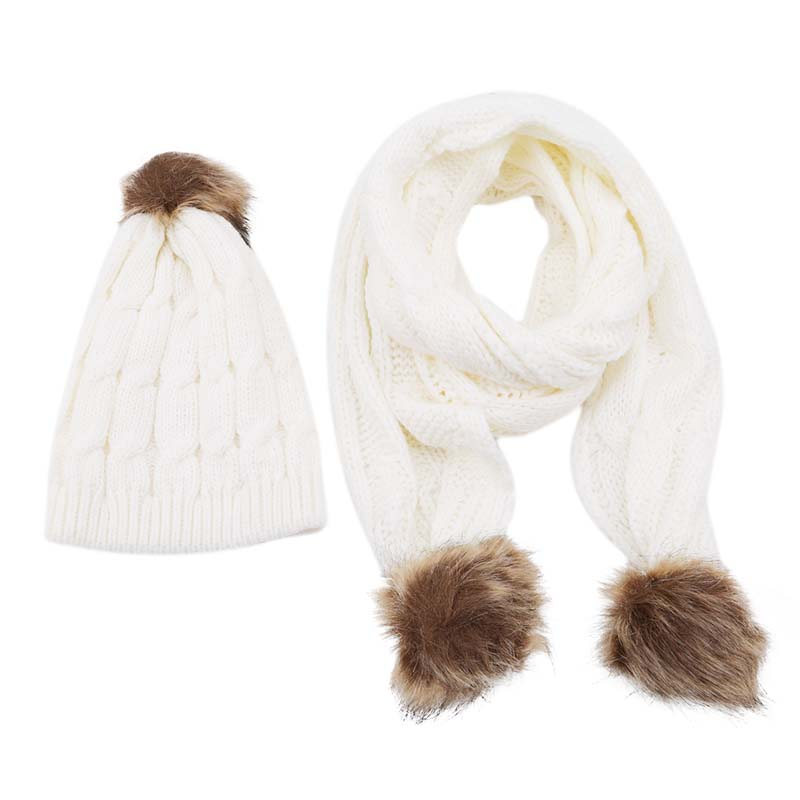 Winter Hats Scarf Set For Women Knitted Two-Piece Girl Solid Color Warm Wool Hats Scarves Suit Female Wool Pompon Scarf